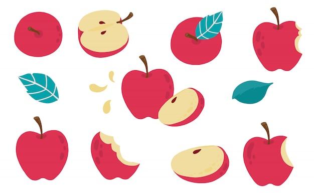 Collezione di oggetti mela carina