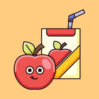 Illustrazione di mela carina con scatola di succo