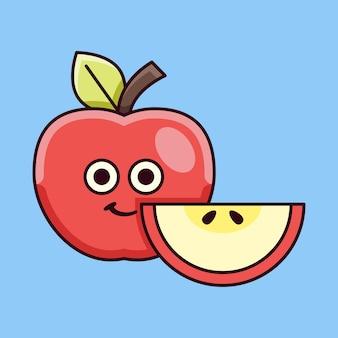 Illustrazione di mela carina con mela a fette