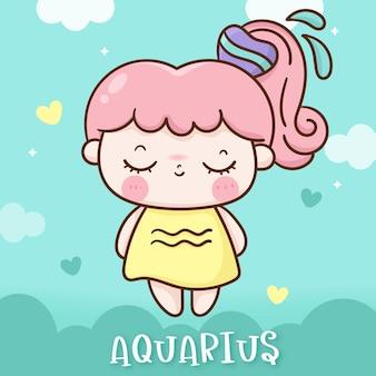 Simpatico cartone animato kawaii in stile doodle dell'oroscopo dell'acquario zodiaco