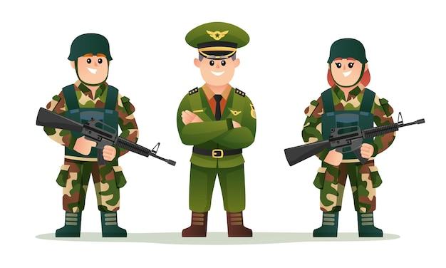 Simpatico capitano dell'esercito con un ragazzo e una ragazza soldato che tengono il set di caratteri delle armi da fuoco