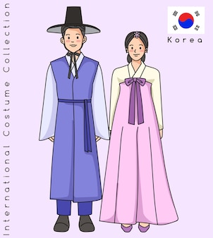 Coppia asiatica carina con vestiti tradizionali Vettore Premium