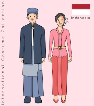 Coppia asiatica carina con vestiti tradizionali