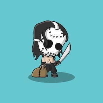Simpatico personaggio assassino che usa maschera, machete e borsa vettore premium