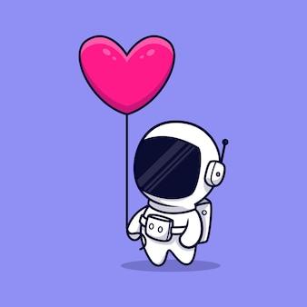 Simpatico astronauta portare fumetto palloncino cuore. stile cartone animato piatto