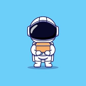 Simpatico astronauta che trasporta una scatola