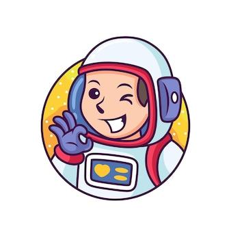 Simpatico cartone animato astronauta. illustrazione dell'icona. concetto dell'icona di scienza isolato