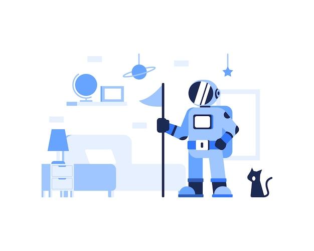 Illustrazione sveglia del gatto e dell'astronauta