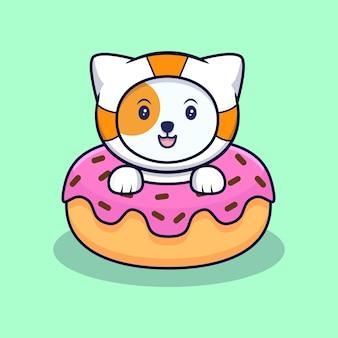 Simpatico gatto astronauta dentro ciambelle