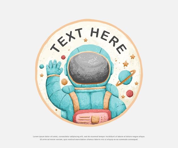 Disegno di illustrazione di carattere carino astronauta