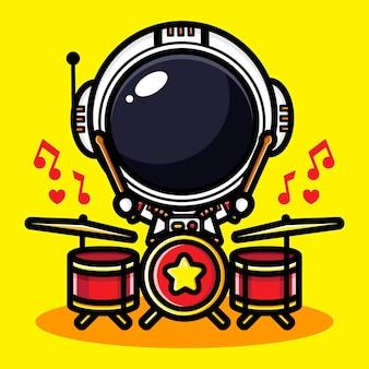 Design carino astronauta che suona la batteria