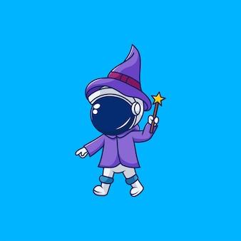 Simpatico design da astronauta che indossa un costume da mago