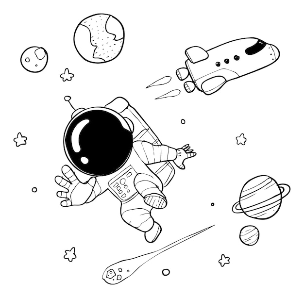 Simpatico doodle astronauta