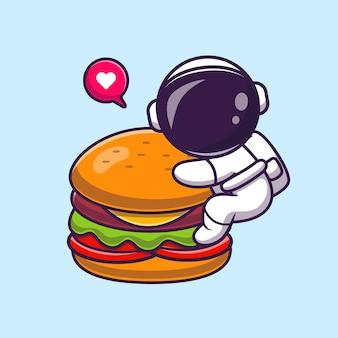 Astronauta sveglio che mangia l'icona di vettore del fumetto dell'hamburger. concetto dell'icona dell'alimento di scienza isolato vettore premium. stile cartone animato piatto