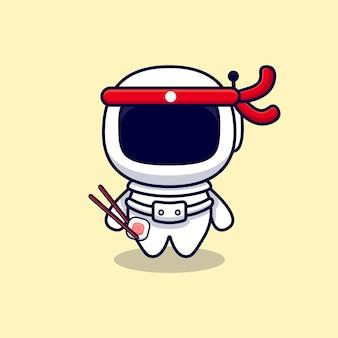 Astronauta carino mangiare sushi roll cartoon. stile cartone animato piatto