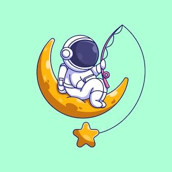 Simpatico astronauta che pesca sul cartone animato della luna