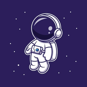 Simpatico astronauta fluttuante nello spazio, personaggio dei cartoni animati