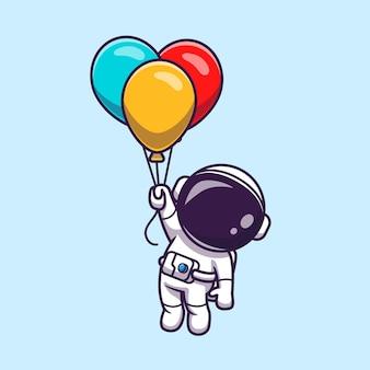 Simpatico astronauta che galleggia con un palloncino colorato