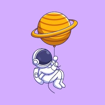 Simpatico astronauta che galleggia con il fumetto del palloncino del pianeta