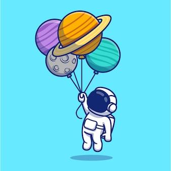 Illustrazione sveglia del fumetto di floating with planets dell'astronauta.
