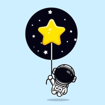 Simpatico astronauta che galleggia con la mascotte del palloncino stella Vettore Premium