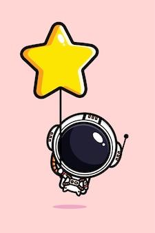 Simpatico astronauta che vola con palloncino a stella