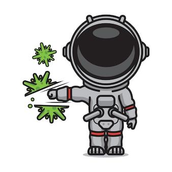 Simpatico astronauta che colpisce il virus corona
