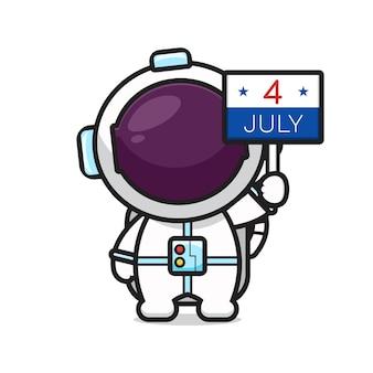 L'astronauta sveglio che tiene il bordo del 4 luglio celebra l'illustrazione di vettore dell'icona del fumetto del giorno dell'indipendenza dell'america. design isolato su bianco. stile cartone animato piatto.
