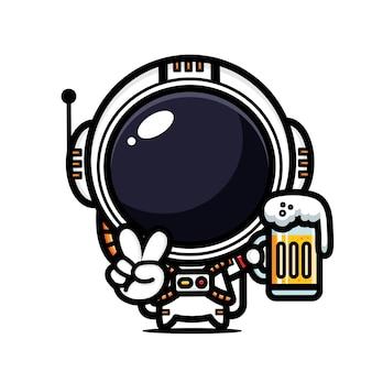 Simpatico astronauta che tiene un bicchiere di birra in una posa tranquilla