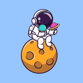 Astronauta sveglio che tiene il gelato del pianeta sull'illustrazione di vettore del fumetto del pianeta.