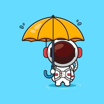 Simpatico astronauta che tiene ombrello sotto la pioggia icona del fumetto. design piatto isolato in stile cartone animato