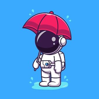 Astronauta carino tenendo l'ombrello sotto la pioggia fumetto illustrazione.