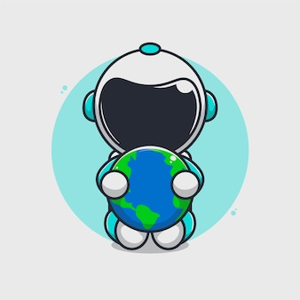 Carino astronauta abbracciando la terra illustrazione
