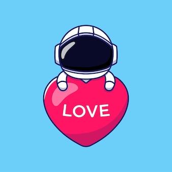 Simpatico astronauta che abbraccia il palloncino del cuore di amore