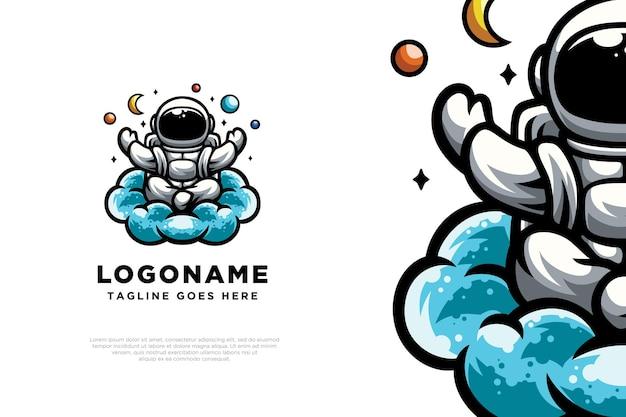 Simpatico disegno del logo dell'illustrazione dell'astronauta