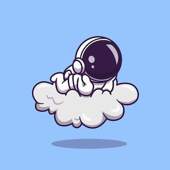 L'astronauta sveglio giaceva sull'illustrazione dell'icona del fumetto della nuvola. concetto dell'icona di scienza tecnologia isolato. stile cartone animato piatto