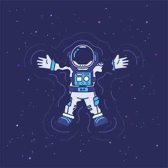 Simpatico personaggio mascotte astronauta che nuota e galleggia nell'illustrazione dello spazio