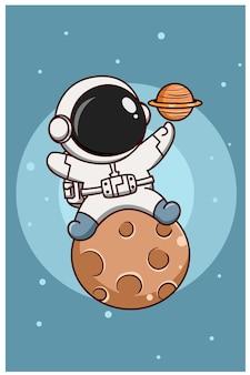 Carino astronauta sulla luna con il pianeta saturno fumetto illustrazione
