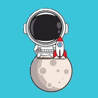 Carino astronauta nella luna con razzo isolato su blu