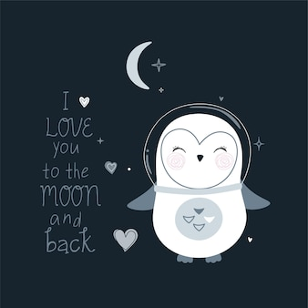 Simpatico pinguino astronauta e scritte