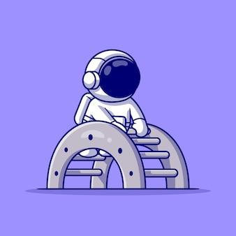 Cartoon carino astronauta gioca a scala giocattolo