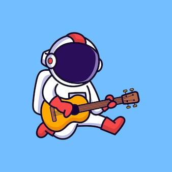 Astronauta carino suonare la chitarra isolata sull'azzurro