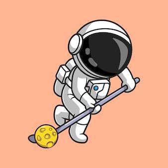 Carino astronauta giocando a hockey luna fumetto icona vettore illustrazione. concetto di icona di scienza dello sport isolato vettore premium. stile cartone animato piatto
