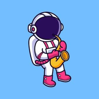 Astronauta carino suonare il sassofono isolato sull'azzurro