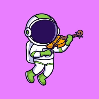 Simpatico astronauta suona il violino isolato sul rosa