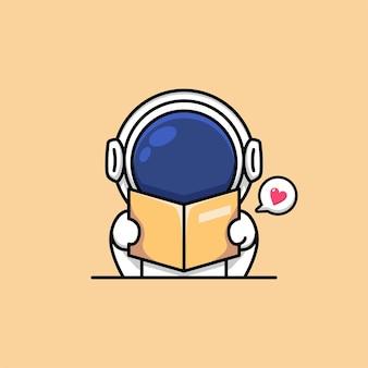 Illustrazione sveglia del fumetto del libro di lettura dell'astronauta