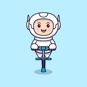 Illustrazione del fumetto sveglio dell'astronauta pronto a saltare. stile cartone animato piatto