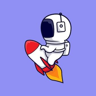 Cartone animato carino astronauta equitazione razzo. stile cartone animato piatto
