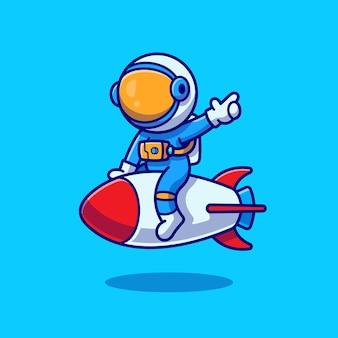 Illustrazione sveglia dell'icona del fumetto del razzo di equitazione dell'astronauta. concetto dell'icona di scienza tecnologia isolato. stile cartone animato piatto