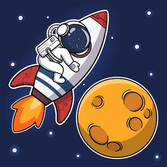 Simpatico astronauta che cavalca un razzo verso la luna